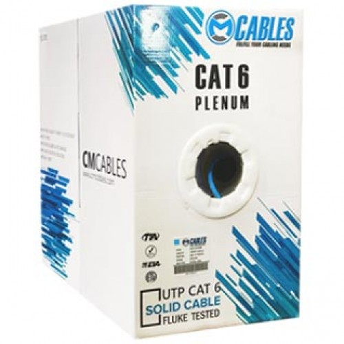CAT6 PLENUM RATED FLUKE TESTED 1000FT 550MHZ 23AWG UTP SOLID CABLE
