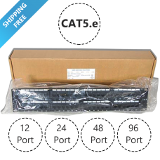 24 Port Enhanced Cat5e Network Patch Panel, Rack-mount Wall Mount Cat5e Bracket Surface 110 Type (568A/B Compatible)