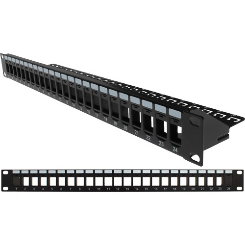 24 Port Blank Patch Panel with Cable Manager Black