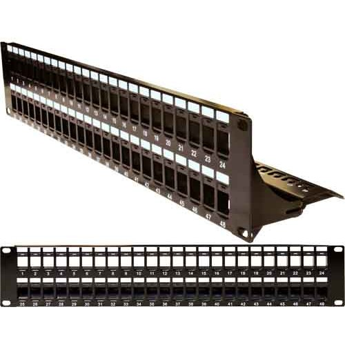 48 Port Blank Patch Panel with Cable Manager Black