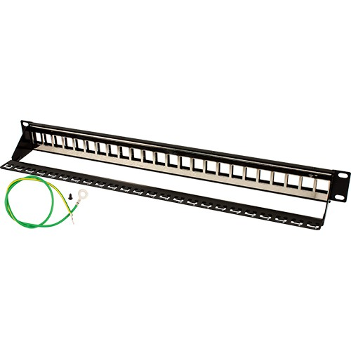 24 Port Blank Shielded Patch Panel Cable Manager and w/Ground | Black
