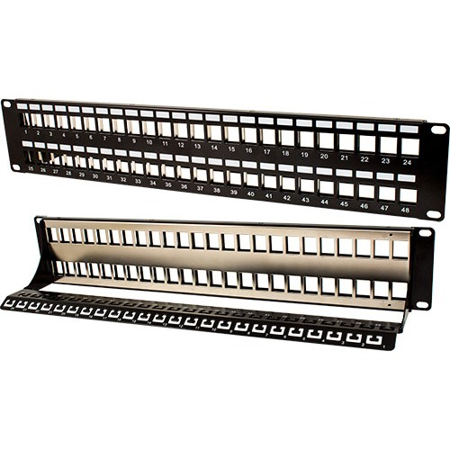 48 Port Blank Shielded Patch Panel Cable Manager and w/Ground | Black