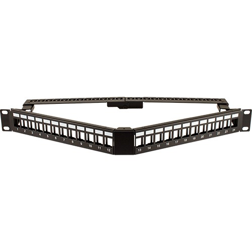 24 Port Blank patch Panel V-Type with Cable Manager Angled with Support Bar Black