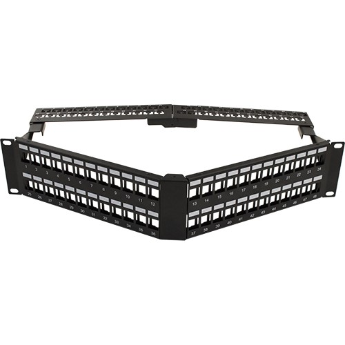 48 Port Blank patch Panel V-Type with Cable Manager Angled with Support Bar Black
