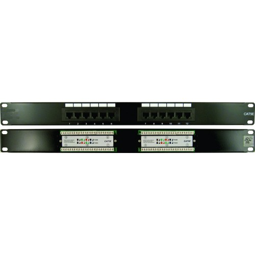 CAT5E 12 Port, 110 IDC Patch Panel 1U