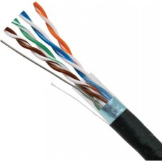 CAT5E STP (Shielded) 8-Conductor, 24AWG, Solid-Bare Copper, PVC Jacket, Black, 1000ft Pull Box