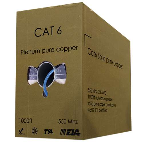 Cat6 Solid bare copper UTP Plenum Jacket 550Mhz 23AWG 1000ft bulk networking Cable