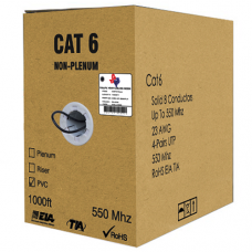 1000FT CAT6 NON-PLENUM UTP BULK PVC ETHERNET CABLE