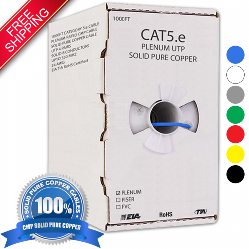 CAT5E PLENUM 1000FT SOLID BARE COPPER UTP ETHERNET CABLE