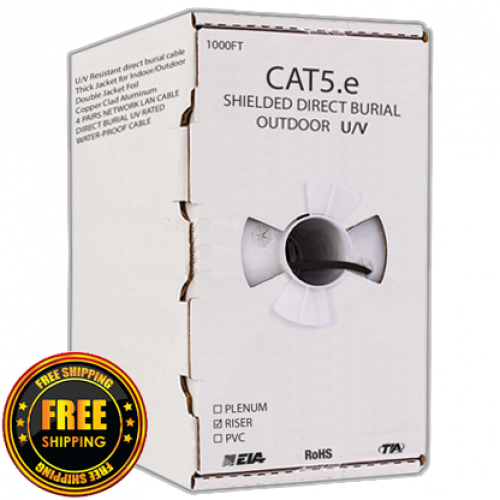 CAT5E F/UTP SHIELDED DIRECT BURIAL OUTDOOR UV Waterproof 1000FT cable - FREE SHIPPING