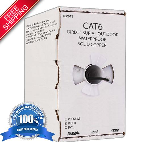 Outdoor 1000Ft Cat6 23AWG CCA UTP 4-pairs LAN Cable Direct Burial UV Rated Waterproof