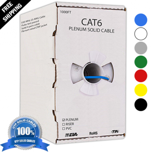 CAT6 PLENUM 1000ft UTP SOLID CABLE 550 MHZ 23 AWG - BLANK BOXES