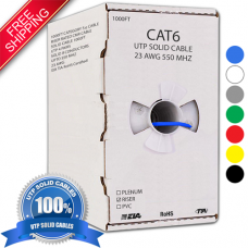 1000FT CAT6 RISER CMR UTP BULK SOLID ETHERNET NETWORK CABLE - FREE SHIPPING