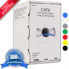 1000FT CAT6 RISER SOLID BARE COPPER UTP BULK ETHERNET CABLE