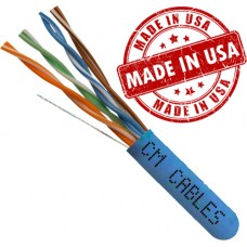 Made in USA Cat6 Plenum Solid Copper 1000ft UTP 23AWG 550Mhz 4 pair pull box cable