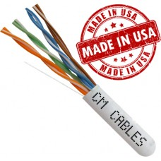 Cat5e solid bare copper USA Made 1000ft plenum rated 24awg 8 conductor pull box